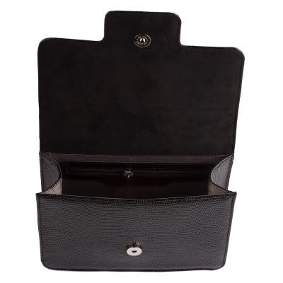 Dámska kožená kabelka, čierne  kroko,