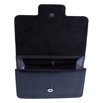 Dámska kožená kabelka, modré kroko