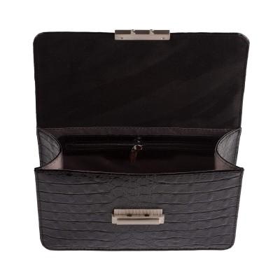 Dámska kožená kabelka, čierne 3D kroko