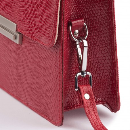 Dámska kožená kabelka, červené kroko