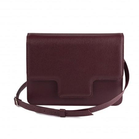 Dámska kožená kabelka, bordové saffiano