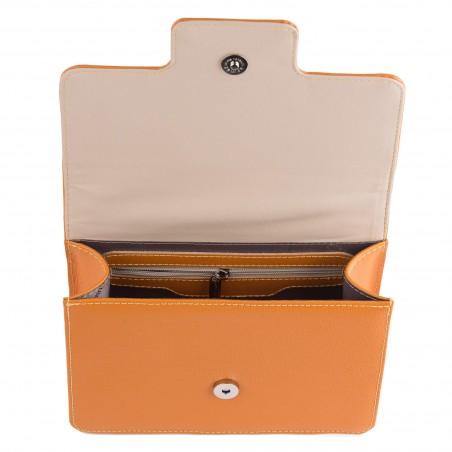 Dámska kožená kabelka, orange saffiano