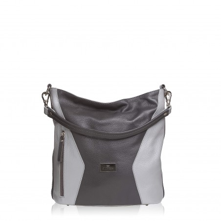 Dámska kožená kabelka, strieborno-sivá