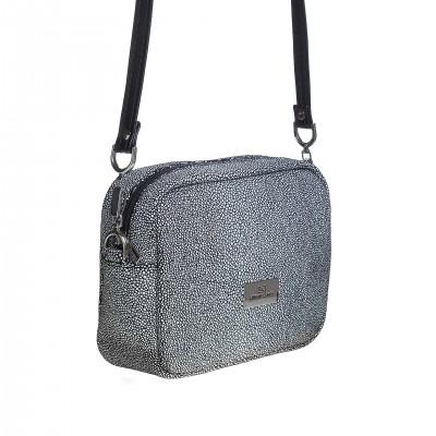 7d644f474 Dámska kožená crossbody kabelka, čierno biela