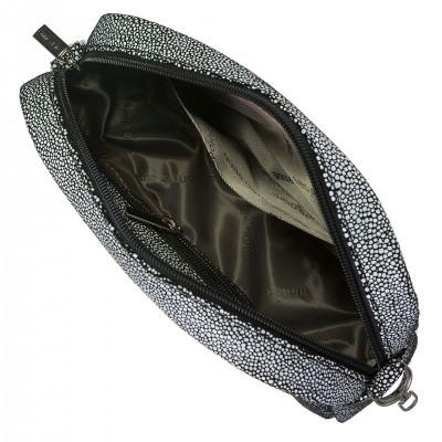 Dámska kožená crossbody kapsička, čierno biela vzorovaná
