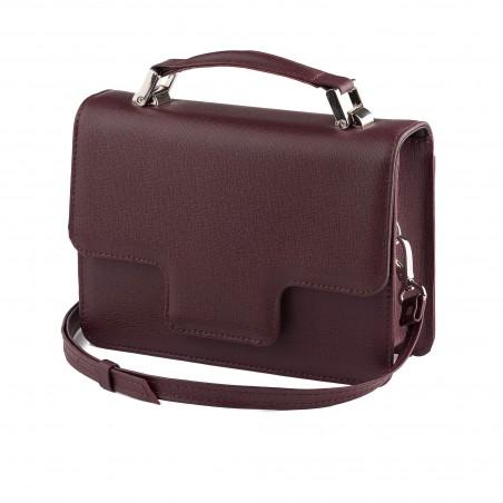 Dámska kožená kabelka s rúčkou, bordové saffiano
