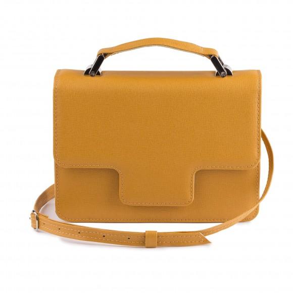 Dámska kožená kabelka s rúčkou, horčicové saffiano