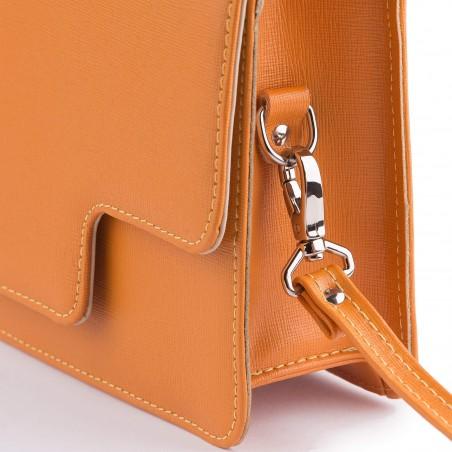 Dámska kožená kabelka s rúčkou, orange saffiano