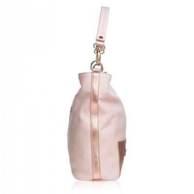 Kožená kabelka na rameno, púdrová koža