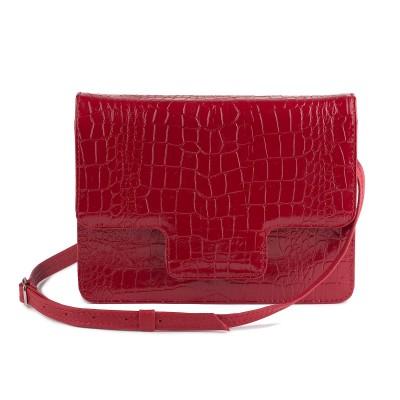 Dámska kožená kabelka, červené kroko plytké
