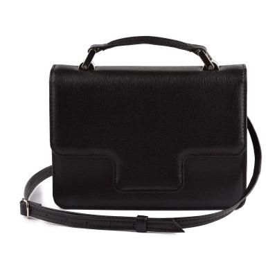 Dámska kožená kabelka, čierne saffiano