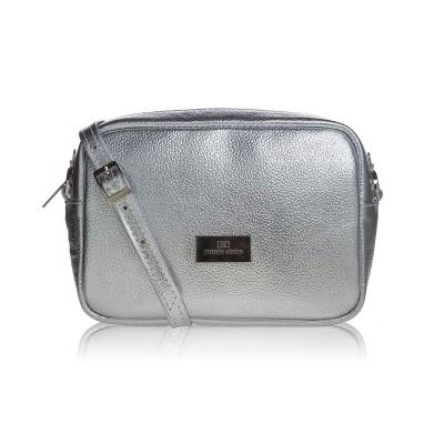 Dámska kožená kabelka cez rameno, sivý mramor