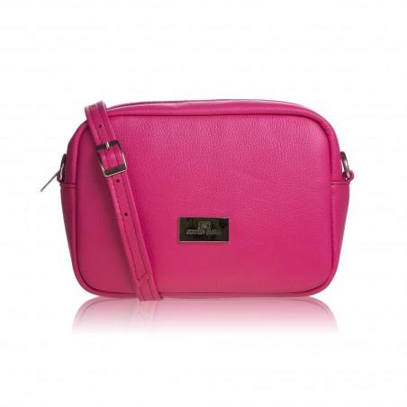 Dámska kožená crossbody kabelka, ružová