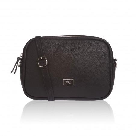 Kožená crossbody kabelka, čierna