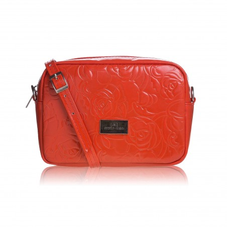Dámska kožená crossbody kabelka, oranžová s potlačou