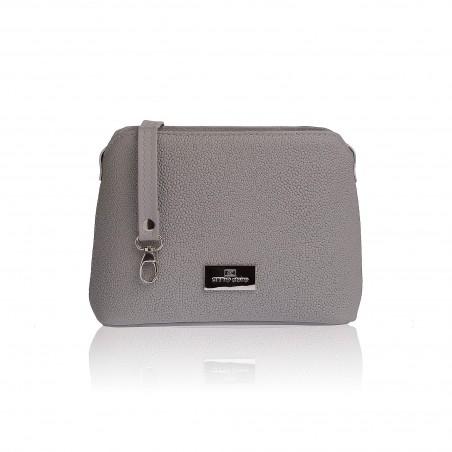 Dámska kožená kabelka cez rameno, sivá