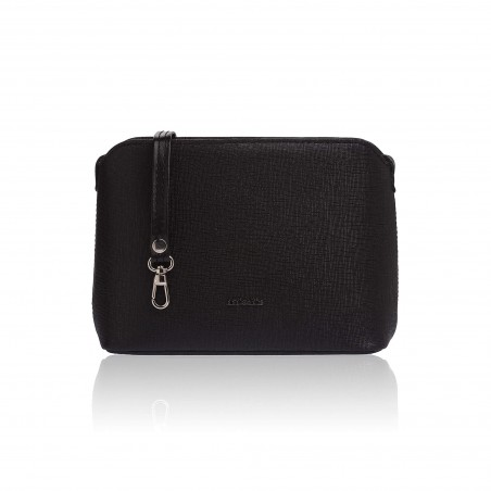 Dámska kožená kabelka cez rameno, čierne saffiano