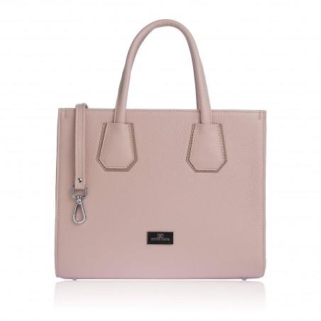 Dámska kožená luxusná kabelka, púdrová