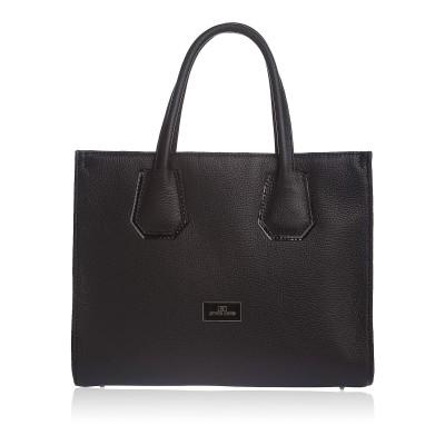 Dámska kožená kabelka, čierne kvety