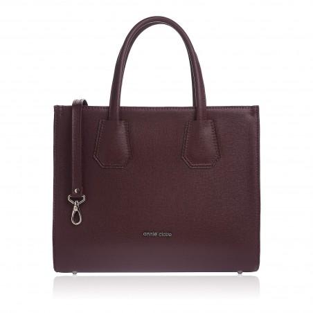 Dámska kožená luxusná kabelka, bordové saffiano