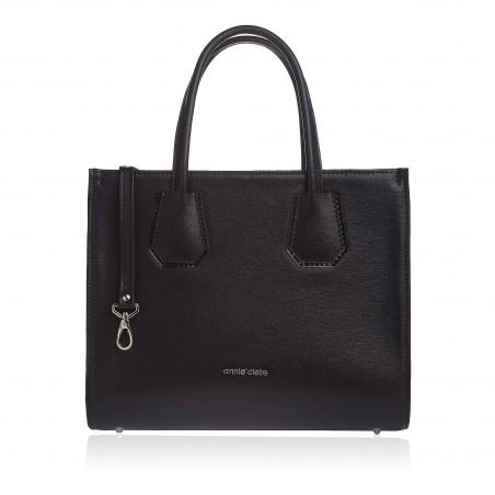 Dámska kožená luxusná kabelka, čierne saffiano