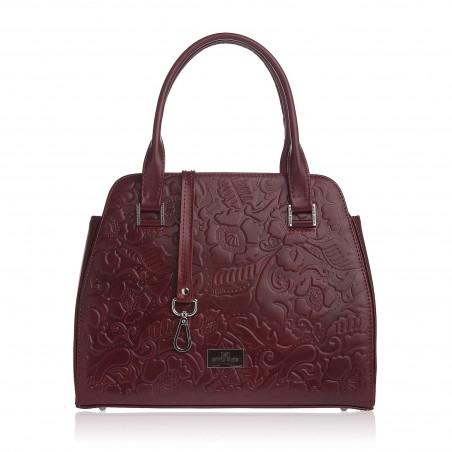 Dámska kožená kabelka, bordové kvety