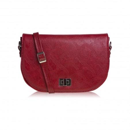 Dámska kožená crossbody kabelka, červená