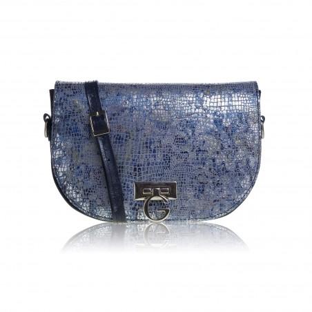 Dámska kožená crossbody kabelka, modrá metalic