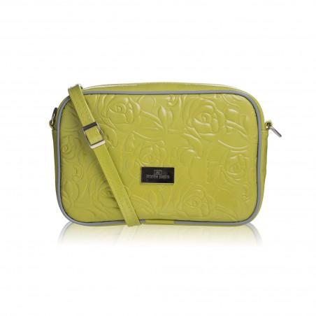 Dámska crossbody kabelka kožená, zelená