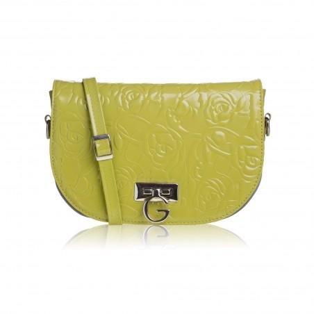 Dámska kožená crossbody kabelka, zelená s potlačou