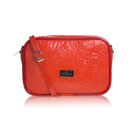 Dámska crossbody kabelka kožená, oranžová