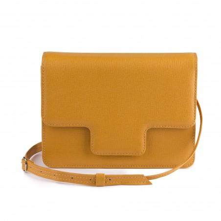 Dámska kožená kabelka, horčicové saffiano
