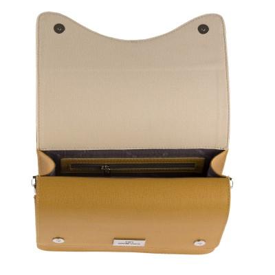 Dámska kožená crossbody kabelka, 3D hnedá