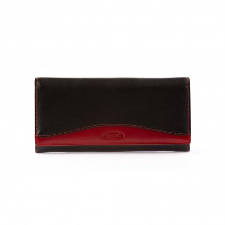 Dámska kožená peňaženka, červeno-čierna