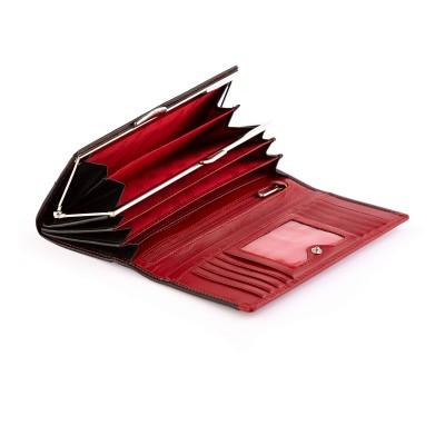 Dámska kožená kabelka cez rameno, bordová