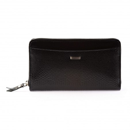 Dámska kožená peňaženka, tmavomodrá lak