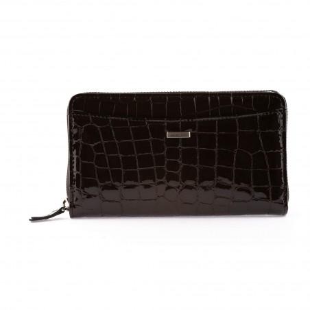Dámska kožená peňaženka, tmavohnedý lak