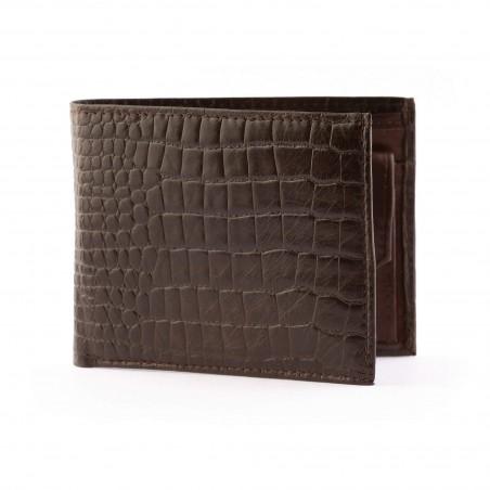 Pánska kožená peňaženka, hnedé kroko
