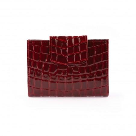 Dámska kožená peňaženka, čierno-bordová lak