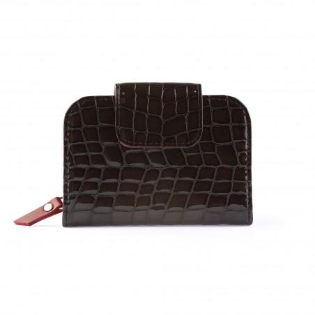 Dámska kožená peňaženka, tmavohnedá lak