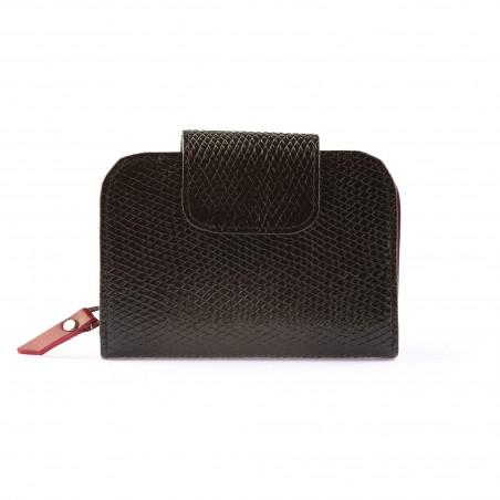 Dámska kožená peňaženka, čierna lak