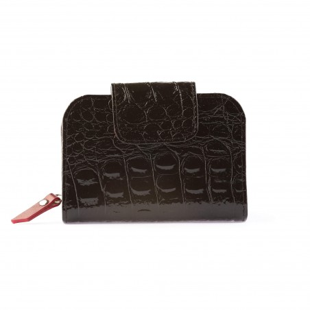 Dámska kožená peňaženka, čierna 3D lak