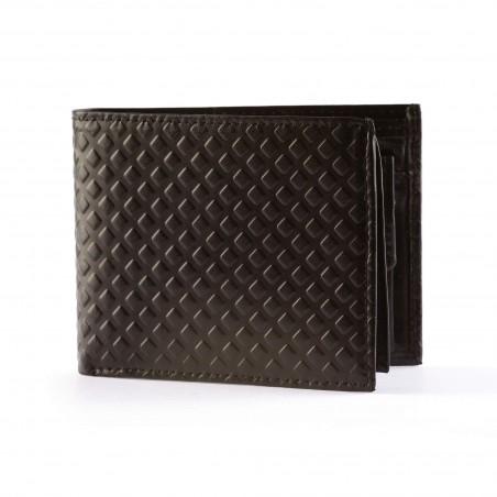 Pánska kožená peňaženka, čierna so vzorom