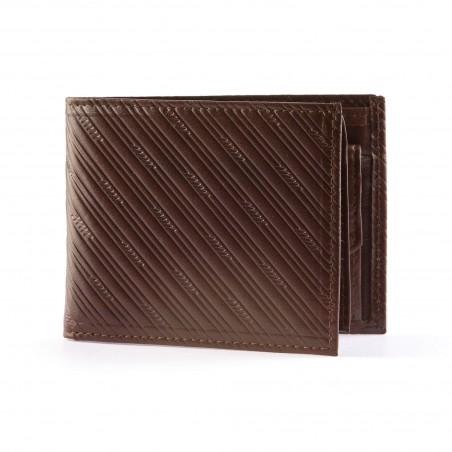 Pánska kožená peňaženka, tmavohnedá so vzorom