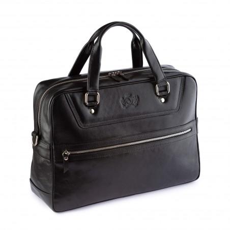 Kožená business/cestovná taška, čierna