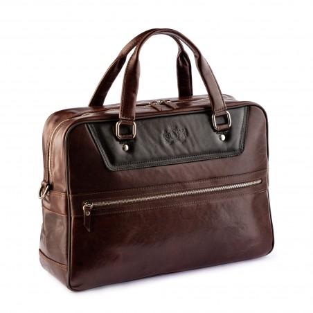 Kožená business/cestovná taška hnedo-čierna