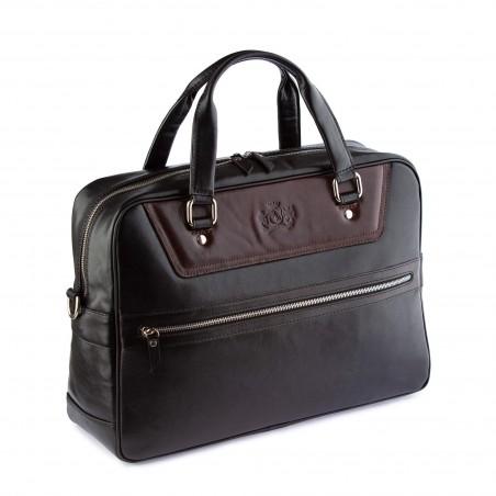 Kožená business/cestovná taška čierno-hnedá