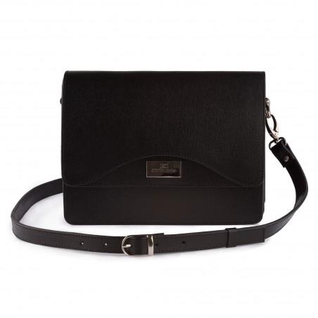 Dámska kožená kabelka, čierna saffiano