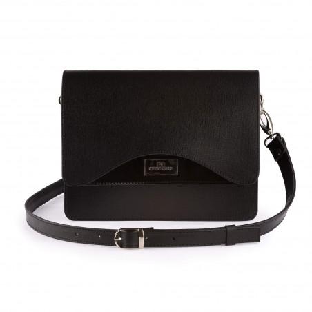 Dámska kožená kabelka, čierna saffiano,lak