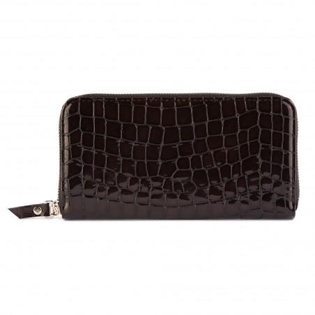 Kožená dámska peňaženka, tmavohnedá